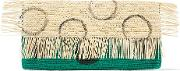 Woman Frayed Coated Toquilla Straw Clutch Jade