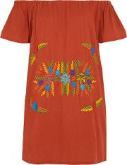 Woman Off The Shoulder Embroidered Crinkled Cotton Mini Dress Red