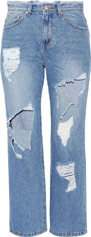 Woman Cropped Distressed High Rise Straight Leg Jeans Mid Denim