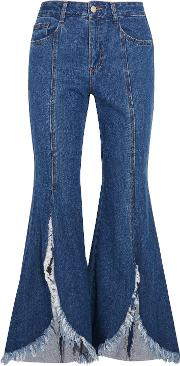 Woman Frayed Mid Rise Flared Jeans Blue