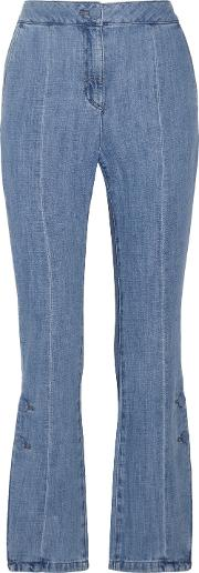 Woman High Rise Flared Jeans Light Denim Size Xs