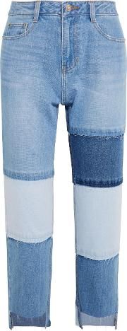 Woman Patchwork Cropped High Rise Straight Leg Jeans Light Denim