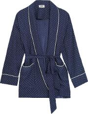 Woman Agnelli Printed Silk Charmeuse Jacket Navy