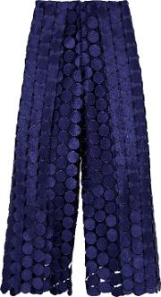 Woman Hallie Embroidered Cutout Faille Wide Leg Pants Navy Size 6