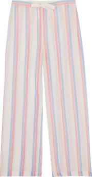 Woman Striped Cotton Wide Leg Pants Ivory Size L