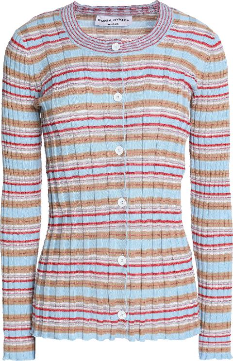 Sonia Rykiel Woman Striped Ribbed Cotton-blend Cardigan Sky Blue Size XL Sonia Rykiel