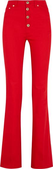 Woman High Rise Flared Jeans Tomato Red