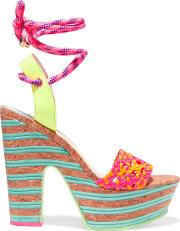 Woman Jade Neon Leather And Cork Platform Sandals Fuchsia Size 40