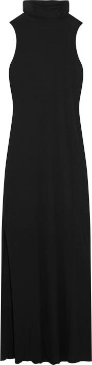 Woman Luxe Stretch Micro Modal And Cashmere Blend Maxi Dress Black