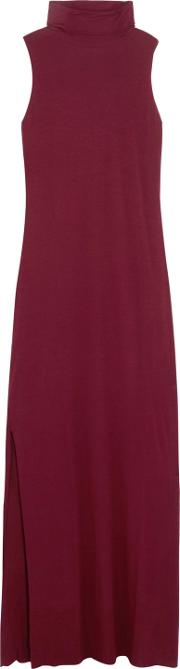 Woman Luxe Stretch Micro Modal And Cashmere Blend Maxi Dress Burgundy