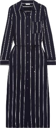 Woman Rope Striped Voile Midi Dress Navy
