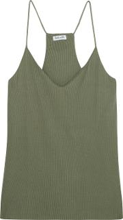 Woman Sandwashed Ribbed Knit Camisole Army Green