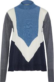 Color Block Wool And Silk Blend Sweater