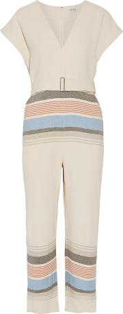 Woman Belted Striped Voile Jumpsuit Ivory