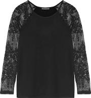 Woman Caitlin Lace Paneled Stretch Modal Jersey Top Black