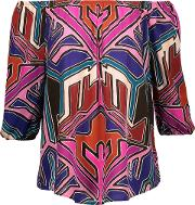 Woman Petal Off The Shoulder Printed Broadcloth Top Fuchsia Size S