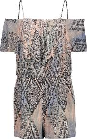 Woman Taci Off The Shoulder Printed Stretch Modal Playsuit Beige Size M