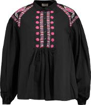 Woman Fable Embroidered Cotton Blouse Black