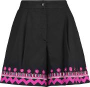 Woman Fable Embroidered Cotton Shorts Black Size 8