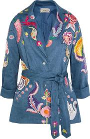 Woman Hermia Embroidered Stretch Linen And Wool Blend Jacket Blue