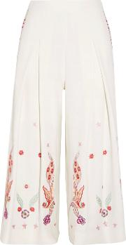 Woman Lysander Cropped Embroidered Crepe Wide Leg Pants White Size 12