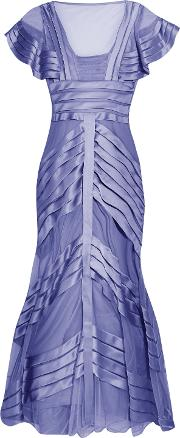 Woman Paneled Mesh And Satin Gown Lavender Size 8