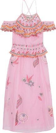 Woman Wildflower Cold Shoulder Embroidered Cotton And Silk Blend Midi Dress Pink
