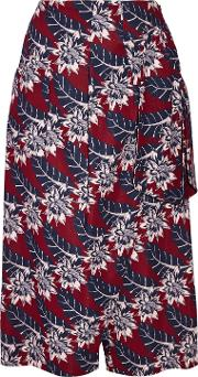 Woman Wrap Effect Printed Crepe Culottes Burgundy