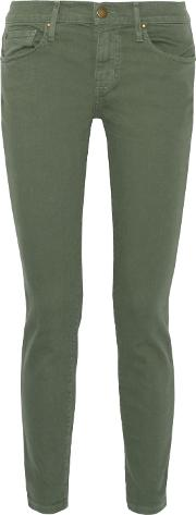 . Woman Cropped Mid Rise Skinny Jeans Army Green Size 30