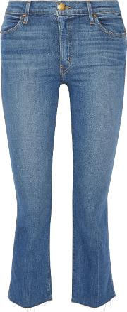 . Woman The Nerd Cropped Frayed Mid Rise Flared Jeans Mid Denim Size 31
