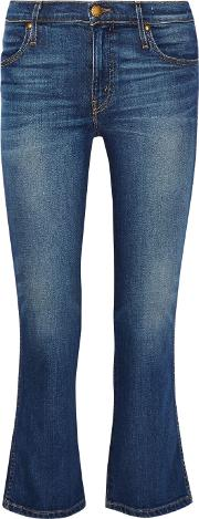 . Woman The Nerd Cropped Low Rise Flared Jeans Mid Denim Size 24