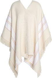 Fringed Striped Cotton And Linen Blend Poncho