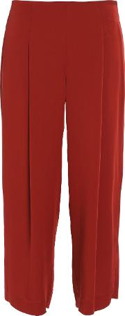 Woman High Rise Silk Culottes Red Size 2