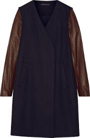 Woman Quennel Convertible Leather Paneled Stretch Wool Blend Coat Midnight Blue Size S