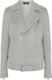 Woman Tralsmin Double Faced Wool And Cashmere Blend Biker Jacket Gray
