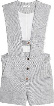 Cotton And Linen Blend Twill Playsuit