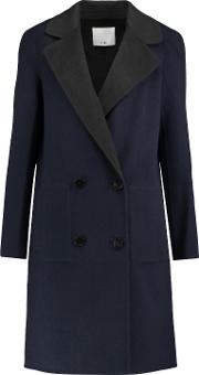 Woman Brushed Wool Coat Navy Size 10