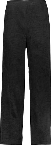 Woman Cropped Pleated Crepe Wide Leg Pants Black Size 6