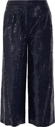 Woman Nerd Cropped Sequined Crepe Wide Leg Pants Navy Size 2