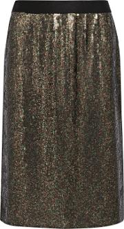 Woman Sequined Silk Chiffon Skirt Anthracite Size 6