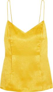 Woman Floral Fatale Silk Jacquard Camisole Yellow