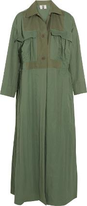 Woman Redford Oversized Cotton Canvas Paneled Twill Trench Coat Army Green Size S