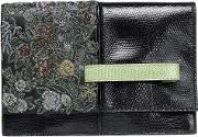 bead embellished snake effect leather clutch