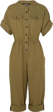 Woman Bacan Woven Cotton Jumpsuit Army Green Size 38