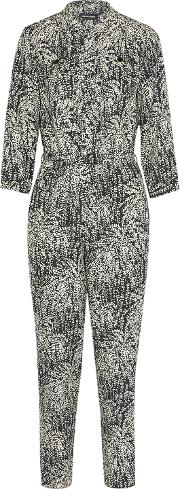 Woman Combinaison Printed Silk Jacquard Jumpsuit Midnight Blue Size 38