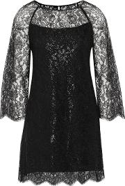 Woman Corded Lace Mini Dress Black