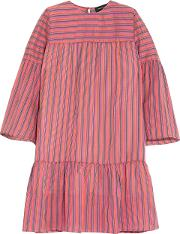 Woman Danaide Striped Silk Jacquard Mini Dress Pink