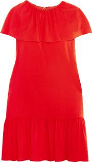 Woman Delphes Ruffled Crepe De Chine Mini Dress Red