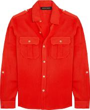 Woman Driver Crepe De Chine Shirt Red
