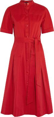 Woman Dune Belted Pleated Cotton Gabardine Dress Red